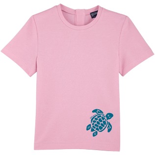 Girls Others Printed - Turtle print cotton t-shirt Girl, Pink quartz front