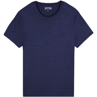 Men Others Solid - Men Linen Jersey T-Shirt Solid, Navy front