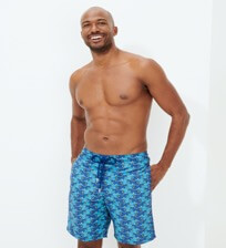 Men Long classic Printed - Men Long Swimwear Cows Puzzle, Batik blue frontworn