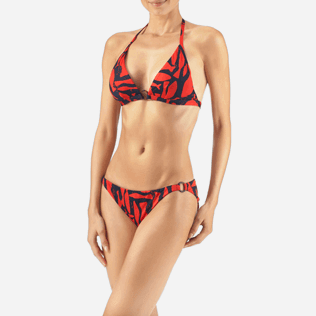 Women Tops Printed - Silex Fishes Triangle shape bikini top, Poppy red supp1