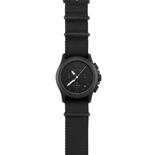 050 Solid - Nylon Stainless steel chrono watchcase, Black front