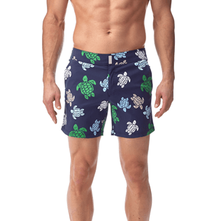 Men Fitted Printed - Multicolor Turtles Fitted cut Swim shorts, Navy supp2