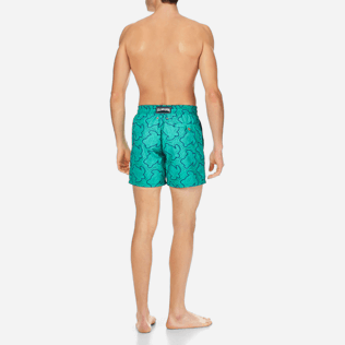 Men Embroidered Embroidered - Men Swimtrunks Embroidered Hypnotic Turtles - Limited Edition, Veronese green backworn
