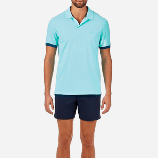 Men Others Solid - Solid Cotton pique polo, Lagoon supp1