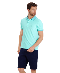 Men Others Solid - Men Terry Cloth Polo Shirt Solid, Lagoon frontworn