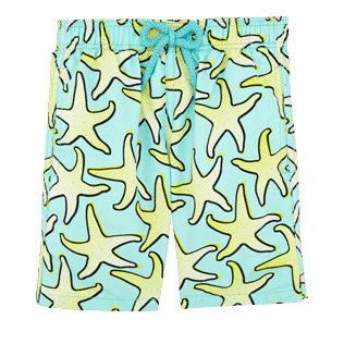 Boys Classic / Moorea Printed - Boys Swimwear Starfish Art - WEB EXCLUSIVE, Lagoon front