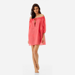 Women Others Solid - Women off-the-shoulder Cotton voile Dress Solid, Hibiscus frontworn