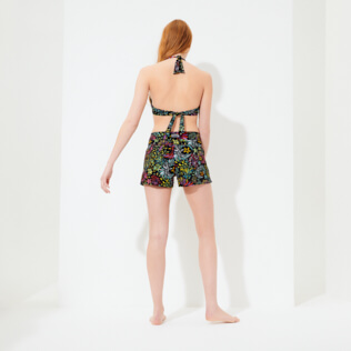 Damen Andere Bedruckt - Evening Birds Stretch-Badeshorts für Damen, Schwarz backworn