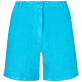 Women Others Solid - Women Linen Bermuda Shorts Solid, Hawaii blue front