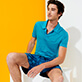 Men Others Solid - Men Linen Jersey Polo Shirt Solid, Light azure supp1