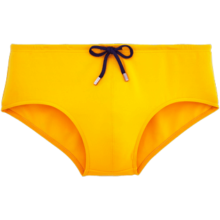 Men Short, Fitted Solid - Solid Jersey Solid swim briefs, Turmeric front