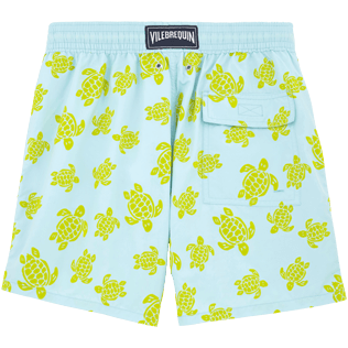 Men Classic / Moorea Printed - Flocked Turtle Print Swim Shorts, Frosted blue back
