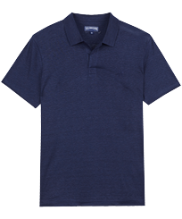 Men Others Solid - Men Linen Jersey Polo Shirt Solid, Navy front