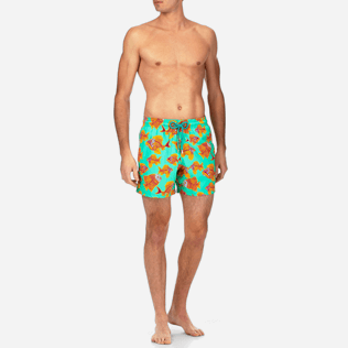 Men Stretch classic Printed - Prehistoric Fish Superflex Swim shorts, Veronese green frontworn