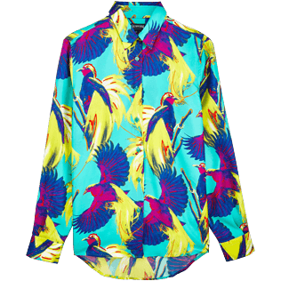 Women Others Printed - Women Twill Silk Shirt Birds of Paradise, Veronese green front