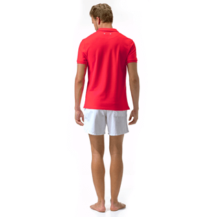 Men Polos Solid - Solid Cotton pique polo, Poppy red supp2