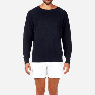 Homme Pulls Uni - Pull Over Coton Lin, Bleu jean supp1