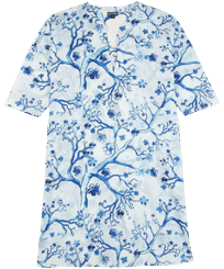 Women Others Printed - Women Cotton Cover-up Cherry Blossom, Sea blue front