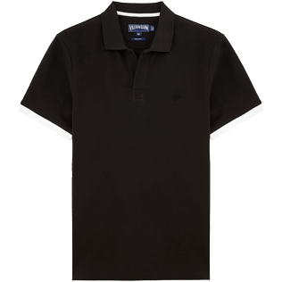 Men Polos Solid - Cotton pique polo, Black front
