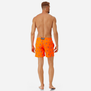 Men Embroidered Embroidered - Men Ultra-Light and packable embroidered Swimwear Palm Beach - Limited Edition, Neon orange backworn
