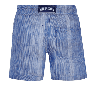 Boys Others Graphic - Linen Cotton Boys Shorts Bermuda Multi Rayures, Navy back
