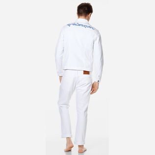 Men Others Solid - Men White Denim Tracker Jacket, White backworn