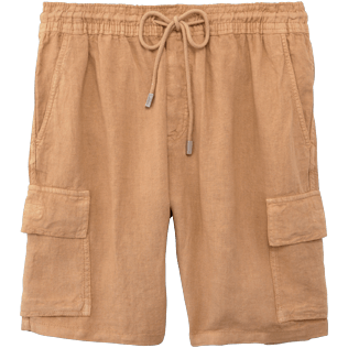 Men Others Solid - Men Cargo Linen Bermuda Shorts Solid, Hazelnut front
