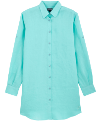 Women Others Solid - Women Long Linen Shirt Solid, Lagoon front