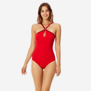 Women One piece Solid - Women centred ring one piece swimsuit Tuxedo, Red polish frontworn