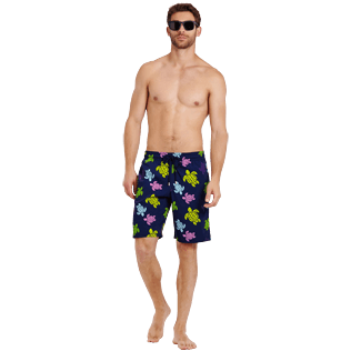 Men Long classic Printed - Men Swim Trunks Long Stretch Ronde des tortues, Navy supp2