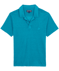 Men Others Solid - Men Linen Jersey Polo Shirt Solid, Light azure front