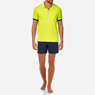 Men Polos Solid - Solid Cotton pique polo, Lemongrass frontworn