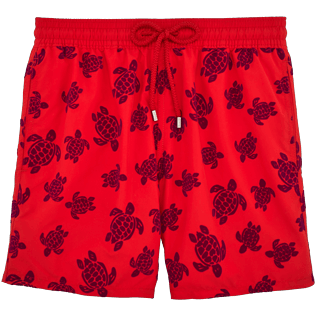 Men Classic / Moorea Printed - Flocked Turtles Swim shorts, Poppy red front