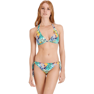 Donna Foulard Stampato - Top bikini donna all'americana Jungle, Midnight blue frontworn