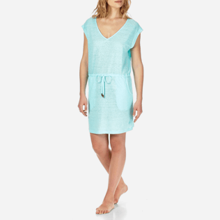 Women Others Solid - Women Short Linen Jersey Dress Solid, Lagoon frontworn