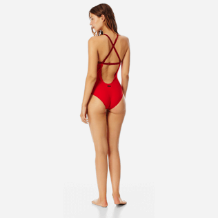 Women One piece Solid - Women centred ring one piece swimsuit Tuxedo, Red polish supp3