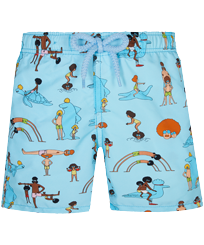 Boys Others Printed - Boys Swimwear My Favorite Dad !, Sky blue 2 front