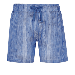 Boys Others Graphic - Linen Cotton Boys Shorts Bermuda Multi Rayures, Navy front