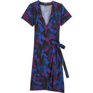 Women Others Printed - Camouflage Turtles Wrap-Around Dress, Plum front