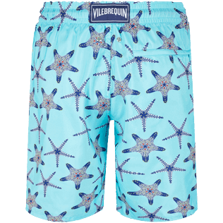 Uomo Classico lungo Stampato - Men Long Ultra-light and packable Swimwear Starfish Dance, Lazulii blue back