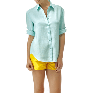 Women Others Solid - Women long sleeves Linen Shirt Solid, Lagoon frontworn