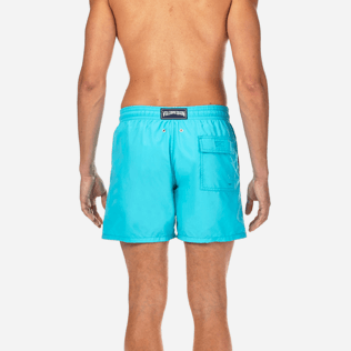 Men Classic / Moorea Embroidered - Natural Flower Placed Embroidery Swim shorts, Azure supp2
