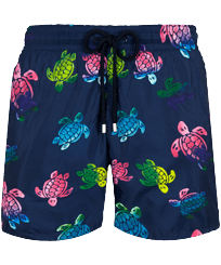 Hombre Clásico ultra ligero Estampado - Men Swimwear Ultra-light and packable Ronde des Tortues Aquarelle, Azul marino front