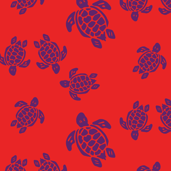 Flocked Turtles Swim shorts, Poppy red pattern