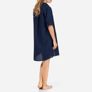 Women Dresses Solid - Indigo Long Linen Shirt, Indigo supp4