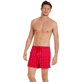 Men Stretch classic Printed - Men Swimwear Stretch Crabs, Medicis red frontworn