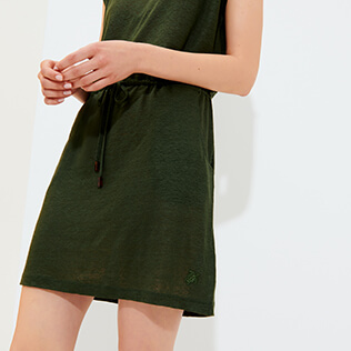 Women 111 Solid - Women Linen V collar Dress Solid, Pepper supp1