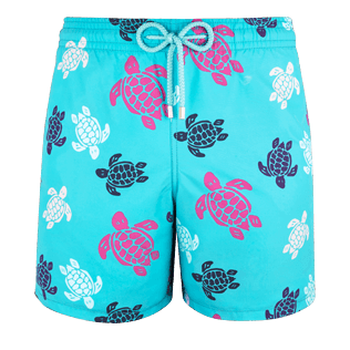 Men Classic Printed - Men Swimtrunks Multicolor Turtles, Curacao front