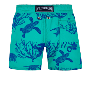Boys Others Printed - Boys Swim Trunks Flocked Coral and Turtles, Veronese green back