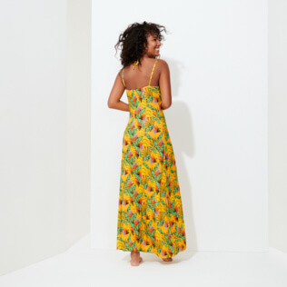 Damen Andere Bedruckt - Langes Go Bananas Kleid für Damen, Curry backworn